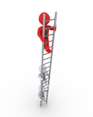 following: Three businessmen are climbing a ladder but one is higher