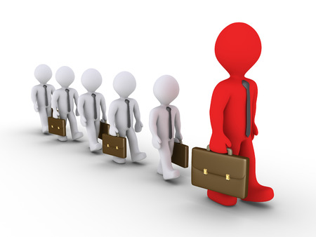 obedecer: Hombres de negocios 3d están siguiendo uno más grande