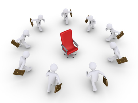 chairman: 3d businessmen are running towards an empty chair Stock Photo