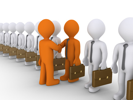 pick out: Many 3d businessmen in line but one shake hands with the boss