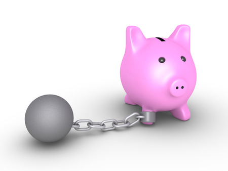 pig iron: 3d pig money box is detained by a chain ball Stock Photo