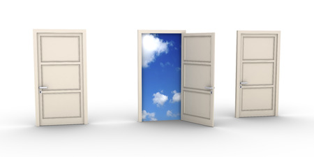 Three doors but one is opened and the blue sky appears photo