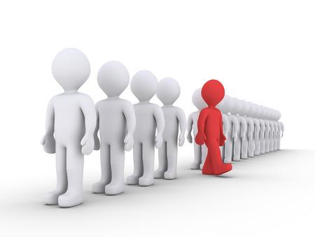 3d mensen staan ??in een rij en één is weg te lopen Stockfoto - 32653674