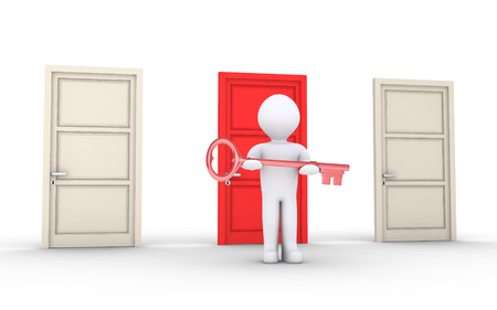 3d person holding key is in front of doors and one is of different color photo