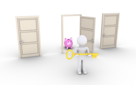 gain access: 3d person holding a key is in front of doors and one leads to earnings Stock Photo
