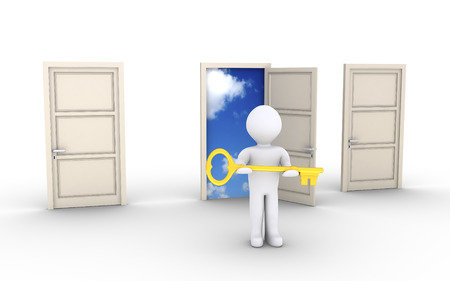 3d person holding a key is in front of doors and one leads to the sky photo