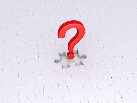 Puzzle pieces but one is missing and question mark photo