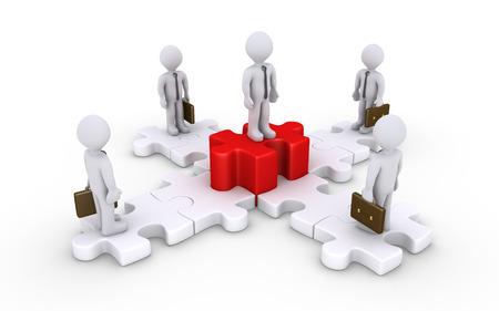 3 d のビジネスマンがパズルのピースの上に立っているし、1 つは高い 写真素材