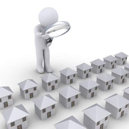 3d person with magnifier looking at many houses in a row photo