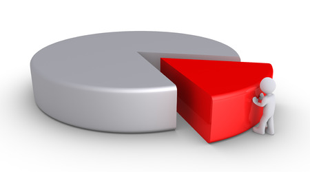 majority: 3d person is pushing a piece of a pie chart Stock Photo