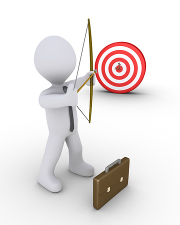 ambitions: 3d businessman as an archer is aiming at a target Stock Photo