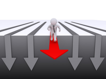 3d businessman running on the best arrow out of other ones