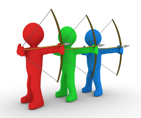 the same: Different colored archers are aiming at the same direction