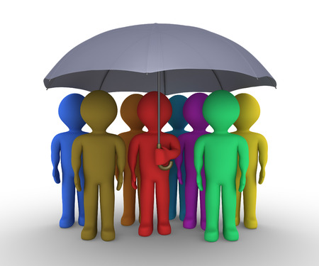 kindness: Many different colored people are under an umbrella