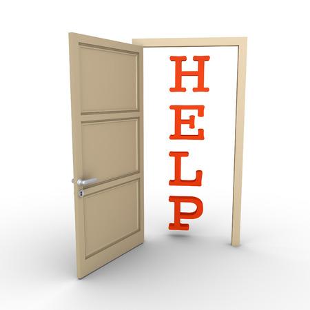 reveals: An opened door reveals a HELP word