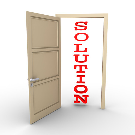 reveals: An opened door reveals a SOLUTION word