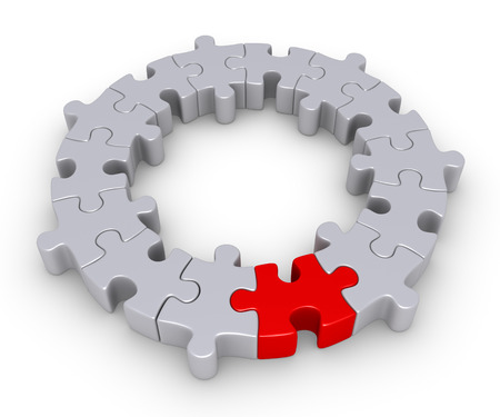 business symbols metaphors: Connected puzzle pieces form a circle and one is of different color