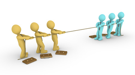 tug of war: Two different colored business teams engage in a tug of war