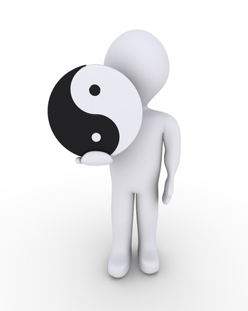 yinyang: Person is holding a yin-yang symbol in his hand