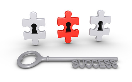 Three puzzle pieces with keyholes and a key of success photo