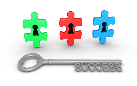 Three puzzle pieces of different color with keyholes and a key of success photo