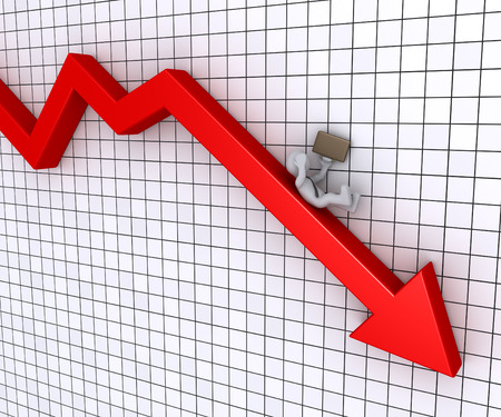 downwards: Businessman is falling from a graphic chart going downwards Stock Photo