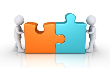 piezas de puzzle: Dos hombres de negocios se conectan diferentes piezas del rompecabezas de colores
