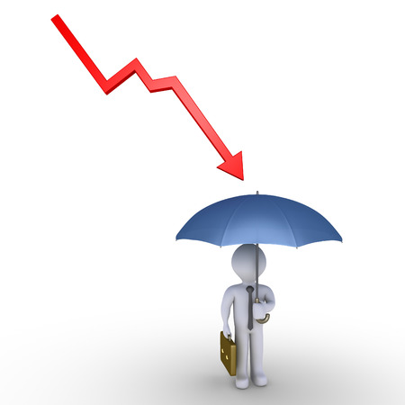 downwards: Arrow graph going downwards to businessman but he is protected by umbrella Stock Photo