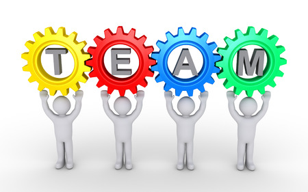 cgi: Four cogwheels are connected over four people and the word TEAM inside them Stock Photo