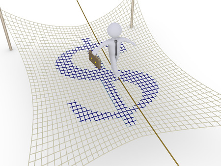 Businessman walking on tightrope and a safety net with dollar sign is underneath