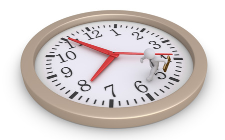 fast money: Businessman is running inside a round clock to catch the time