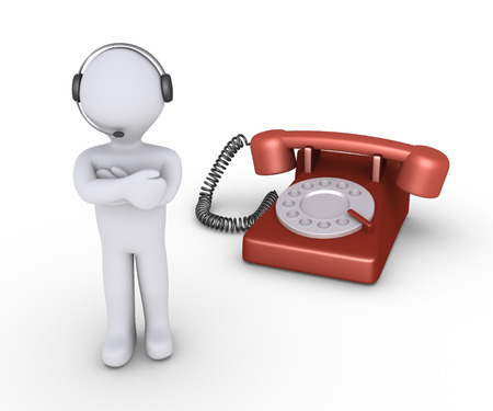 telephone operator: Person with a headset and microphone as an operator is in front of telephone