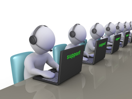 providing: People as operators with a laptops are providing support Stock Photo