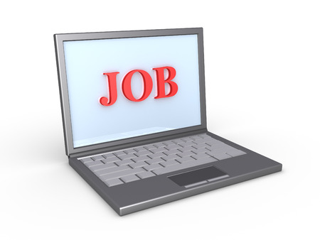seeking assistance: Laptop with the word JOB on the screen