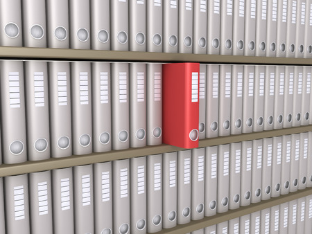 folder: Many folders on shelves and one stands out