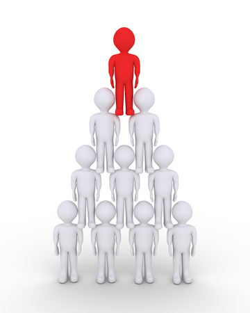 People and a leader on top form a pyramid by standing one on top of the other photo