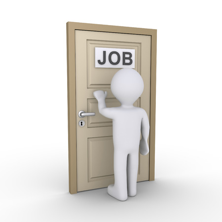 knocking: Person is knocking at a door with a JOB label on it Stock Photo