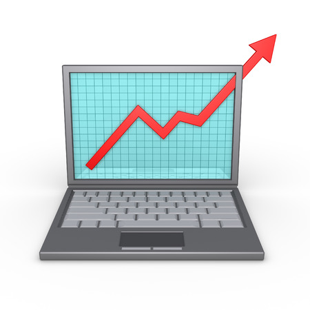 laptop screen: A graphic chart showing good results is on the screen of a laptop Stock Photo