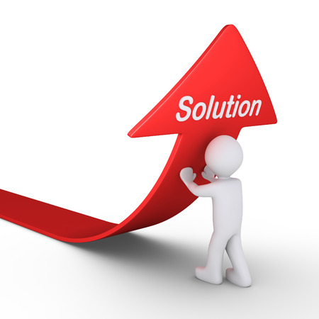 hidden success: Person is pushing an arrow upwards and finds the solution word