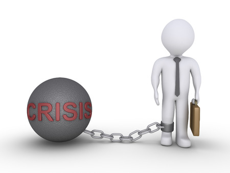 ball and chain: Businessman is detained by a chain ball with the word CRISIS on it Stock Photo