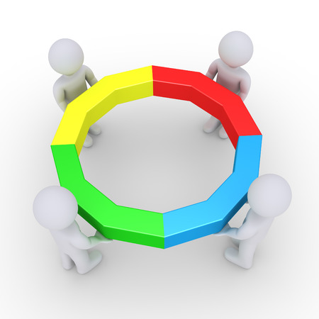 form a circle: Four people are holding connected pieces to form a circle
