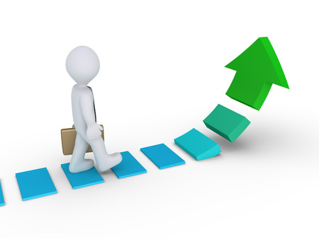 walking path: Businessman is walking on steps of a rising arrow path Stock Photo
