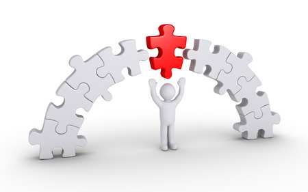 red puzzle piece: Person and a red puzzle piece is in the middle of others forming an arc