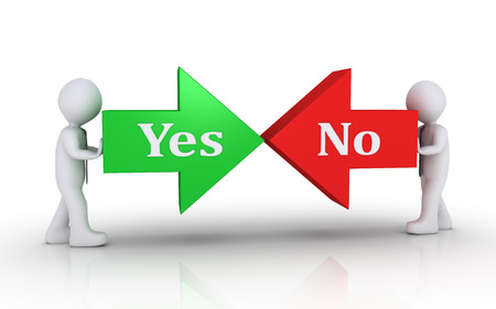yes or no: Two businessmen are pushing arrows on opposite direction with the Yes and No words Stock Photo