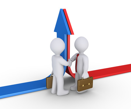 upwards: Two different arrows going upwards and businessmen shake hands Stock Photo