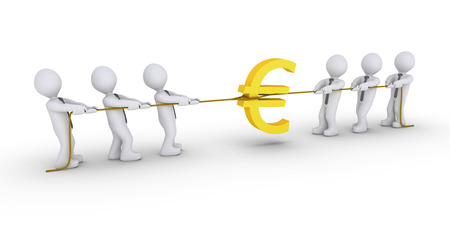 pulling money: Two different teams are pulling ropes to claim Euro symbol Stock Photo