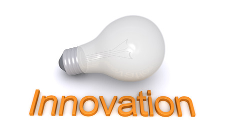 innovation word: Light bulb is on the ground and in front of it is an Innovation word