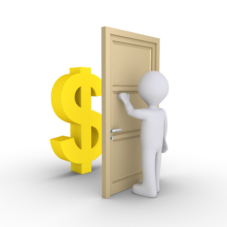 knocking: Person is knocking at a door with a dollar symbol behind it Stock Photo