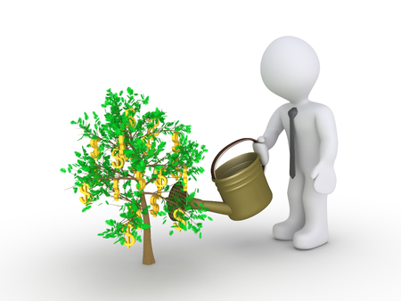 patience: Businessman holding a watering can is about to water the plant with dollars hanging from it Stock Photo