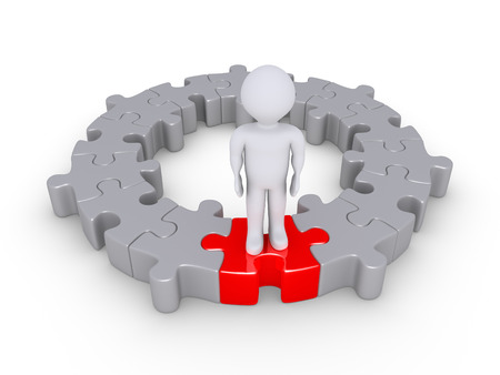 form a circle: Connected puzzle pieces form a circle and a person is standing on one of different color